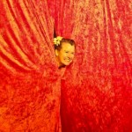 Two for Tea indoor - Jo's head through curtain
